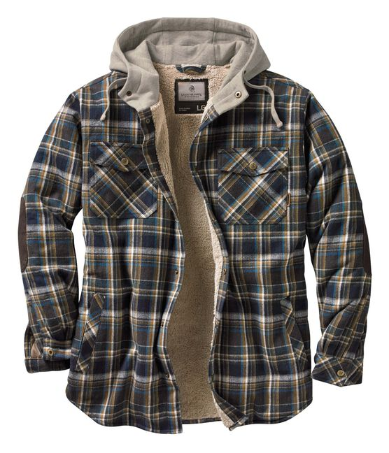 Men/'s Long Sleeve Insulated Lined Hooded Flannel ShirtJacket Size XXL
