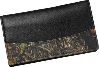 Men's Mossy Oak Leather Camo Checkbook Cover