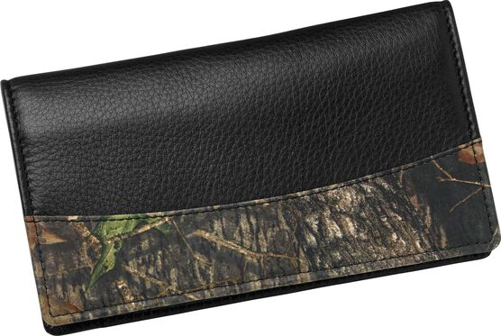 Men's Mossy Oak Leather Camo Checkbook Cover