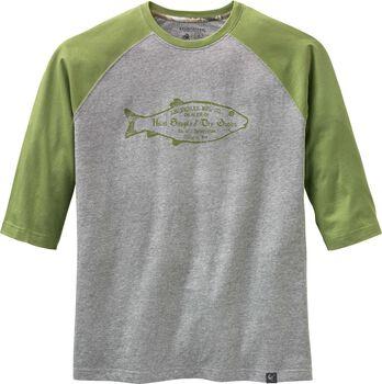 52f96efdf Men s Vintage Wooden Fish Raglan 3 4 Sleeve T-shirt