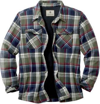 Men's Deer Camp Fleece Lined Flannel Shirt Jacket