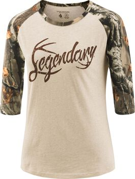 Women's Legendary Big Game Camo Baseball T-Shirt
