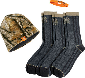 Men's Reversible Fleece Knit Cap 3-Pack Sock Bundle