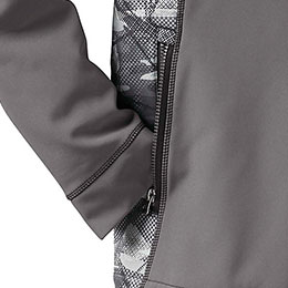 Zippered front handwarming pockets