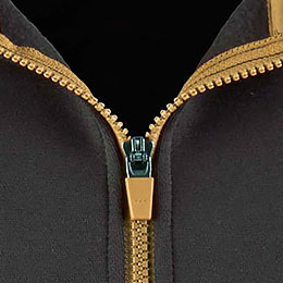 Contrasting zippers