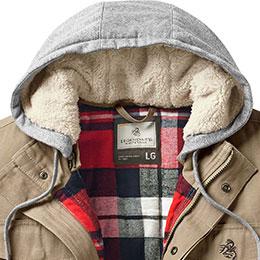Three panel, sherpa-lined adjustable hood