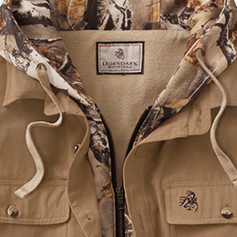 Big Game Camo® placket and hood