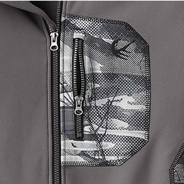 Secure left chest zipper pocket