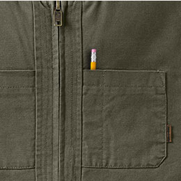 Left chest pocket with pencil slot