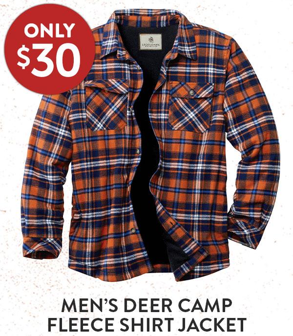 Men's Deer Camp Fleece Lined Shirt Jacket