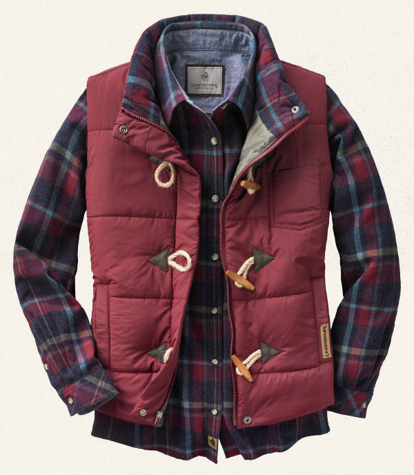 Women's Quilted Vest and Cottage Escape Flannel
