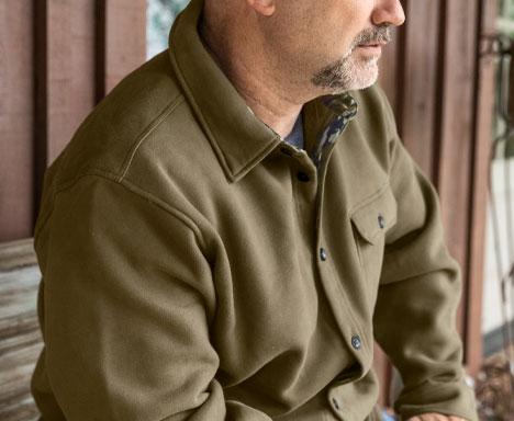Men's Big Woods Camo Lined Brush Knit Fleece Shirt Jacket