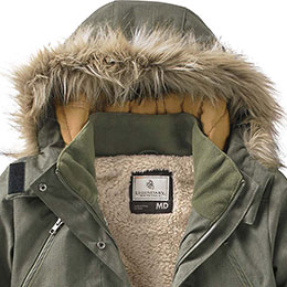 Stylish Faux Fur Lined Hood with hook and loop closure