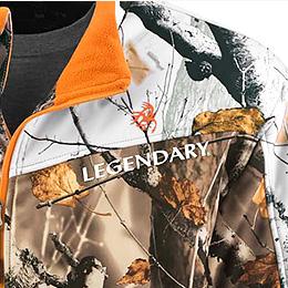 Contrasting Legendary® logos on left chest