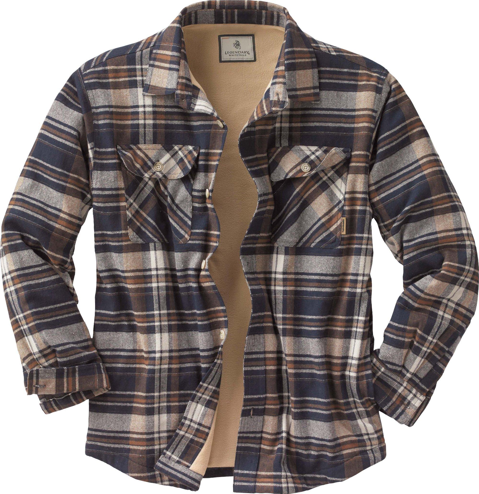 Men s Deer Camp Fleece Lined Flannel Shirt Jacket Zoom 4a052be69c8